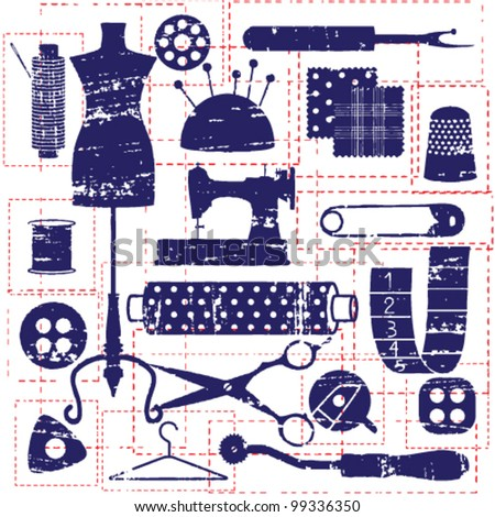 Blue scratched sewing and tailoring related symbols with red stitched pattern - stock vector