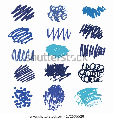 blue scribble collection - stock vector