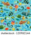 Blue sea pattern with colorful fish - moray eel, puffer, sea star, shell, sea anemones. Seamless. - stock photo