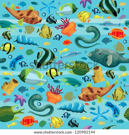 Blue sea pattern with colorful fish - moray eel, puffer, sea star, shell, sea anemones. Seamless. - stock vector