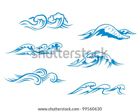 Blue sea waves set for design in cartoon style, such as emblem or logo template. Jpeg version also available in gallery - stock vector