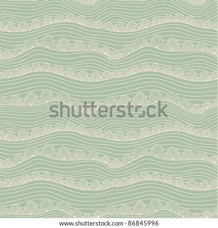 blue seamless abstract hand-drawn pattern, waves background - stock vector