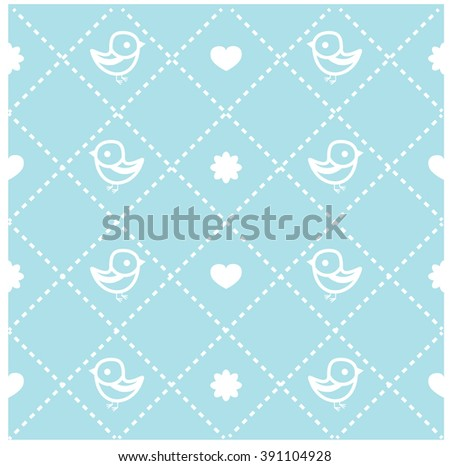Blue seamless background with birds ad hearts