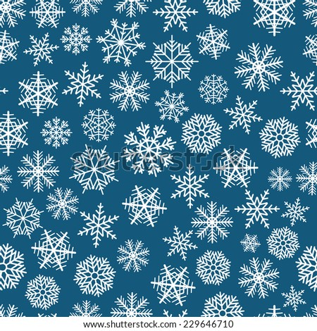 Blue seamless christmas background of flakes - stock vector