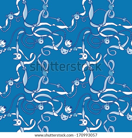 Blue Seamless Cute Pattern with Beads and Ribbons