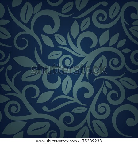blue seamless floral background square layout for scrapbooking with vignette on separate layer