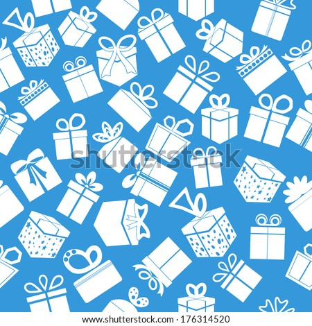 Blue seamless gift pattern. Vector background.
