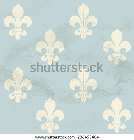 Blue seamless grungy vintage pattern from white Fleur-de-lys - stock vector