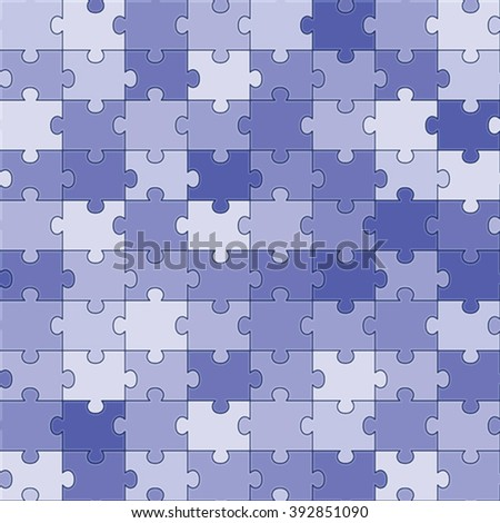 blue seamless jigsaw puzzle pattern vector illustration