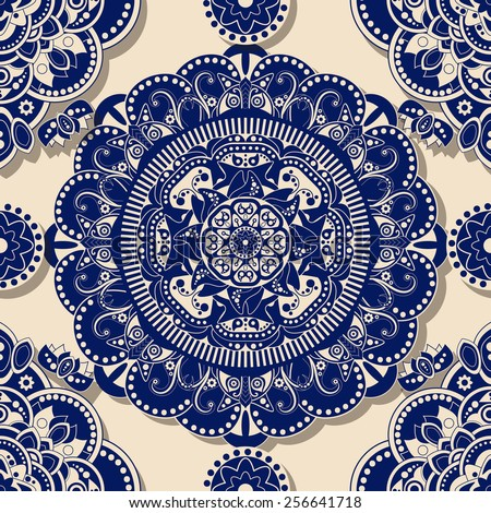 Blue seamless ornamental pattern with shadow effect - stock vector