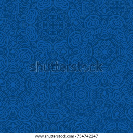Blue seamless ornamental vector pattern