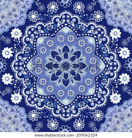 Blue seamless pattern. Design for dutch tile, textile, cloth, fabric, tissue - stock vector