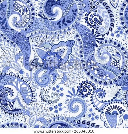 Blue seamless pattern. Floral seamless wallpaper, flowers background - stock vector