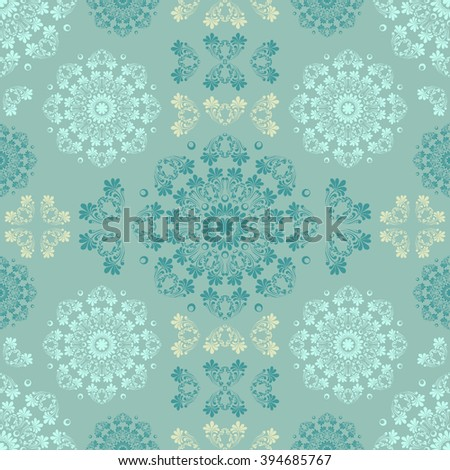 Blue seamless pattern for wall. Wallpaper fabric textile design with mandalas and decorative vintage, trendy color and vintage elements.Vector illustration