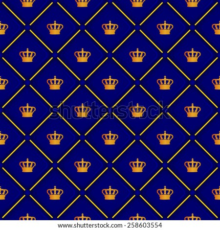 Blue seamless pattern with king crown symbol, 10eps.