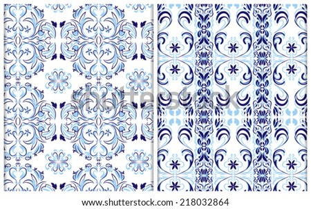 blue seamless patterns, floral native motifs