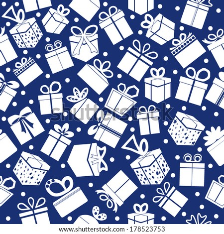 Blue seamless present pattern. Vector background.