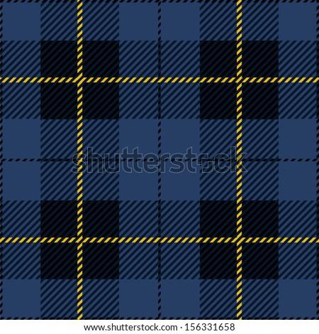 Blue Seamless Tartan Plaid Design  - stock vector