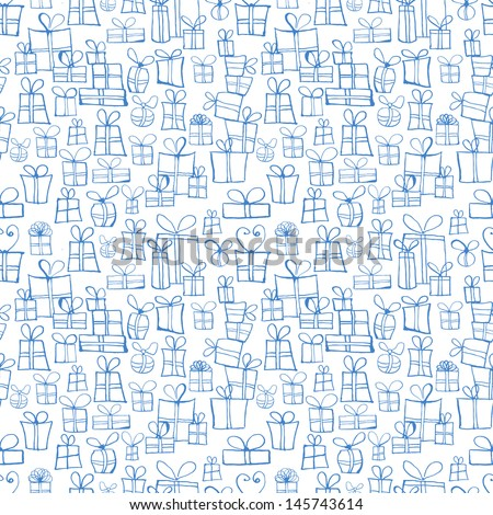 Blue seamless texture with gift boxes. Can be used for wallpaper, pattern fills, textile, web page background, surface textures. Vector illustration.  - stock vector