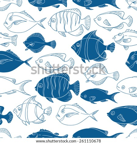 Blue seamless vector pattern with fish. Sea fish vector illustration. Vector background. Linear vector illustration.  - stock vector
