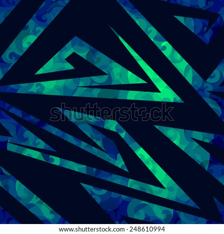 blue seamless vector with geometry pattern with chemical sourness abstraction - stock vector