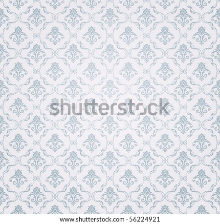 Blue Seamless wallpaper pattern, vector - stock vector