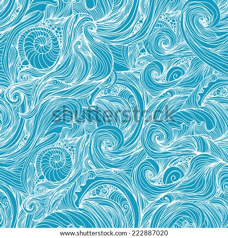 Blue seamless wave hand-drawn pattern, waves background (seamlessly tiling).Can be used for wallpaper, pattern fills, web page background,surface textures. Gorgeous seamless wave background  - stock vector