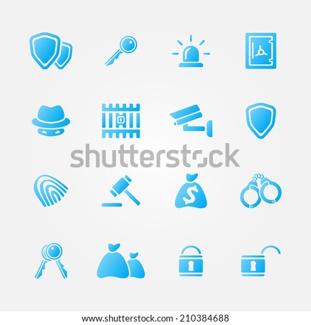 Blue security vector icons - vector simple police symbols set