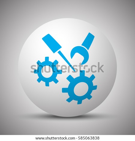 Blue Service icon on white sphere
