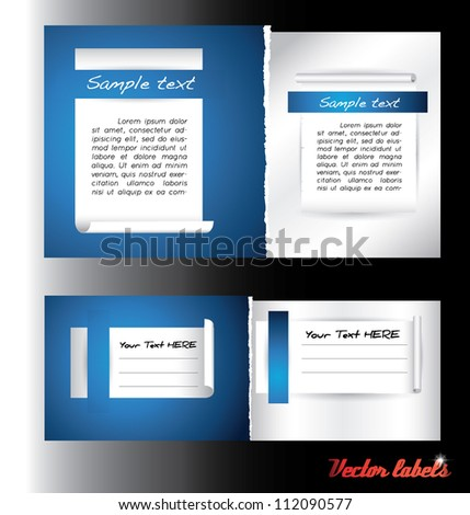 blue shaded paper labels