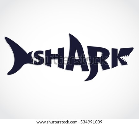 blue shark shape text logo