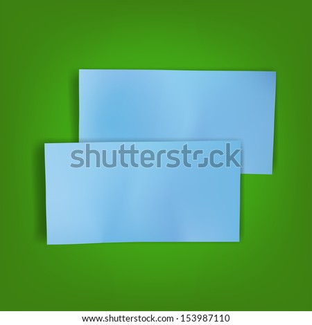 blue sheet of paper with shadow template blank page note for message on vector green background