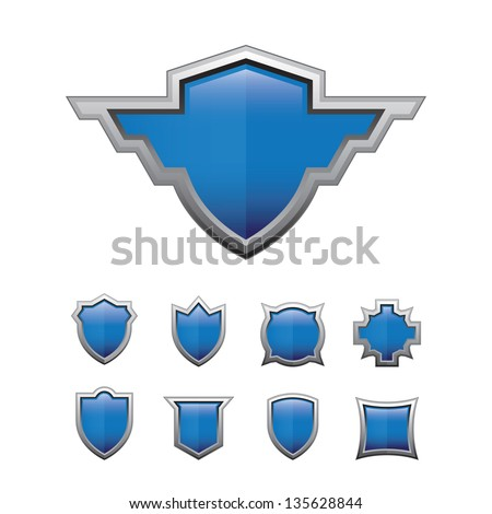 Blue Shield glossy set - stock vector