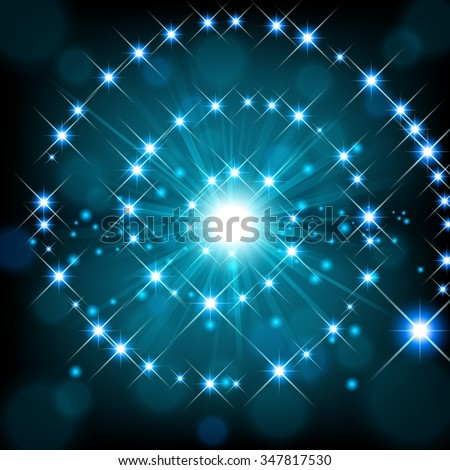 Blue shine with sparkle forming spiral background - stock vector