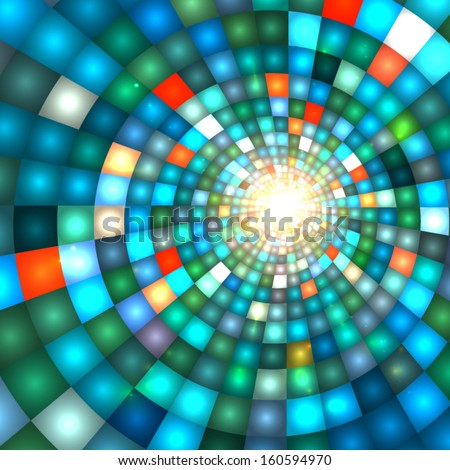 Blue shining disco lights vector background - stock vector