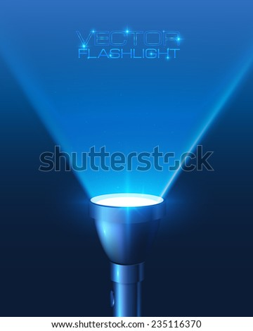 Blue shining vector flashlight in darkness - stock vector