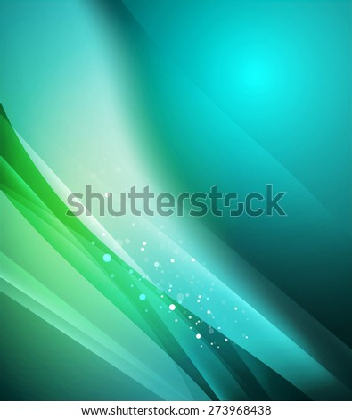 Blue shining, waves and lines. Abstract background - stock vector