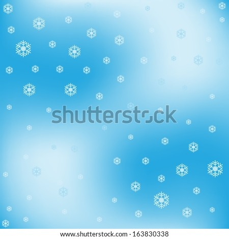 Blue shiny  background with  snowflakes
