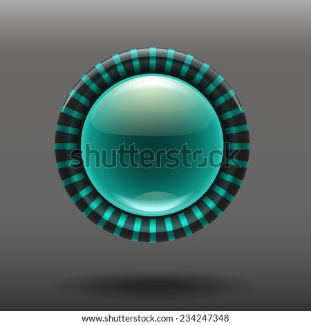 Blue shiny glass buttons for your design. vector illustration eps 10 - stock vector