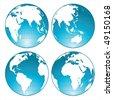 blue shiny globes - stock vector