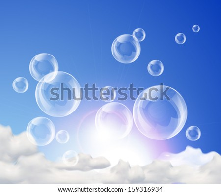 Blue shiny sky background with bubbles and clouds. Vector eps10.