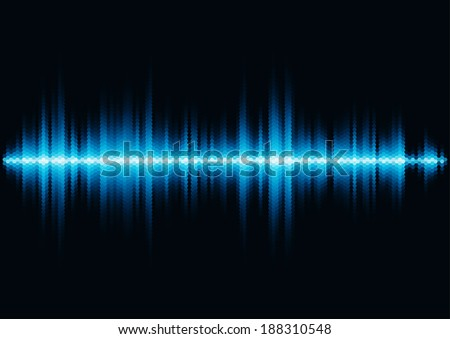 Blue shiny sound waveform with hex grid light filter - stock vector