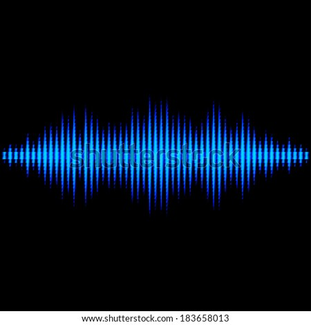 Blue shiny sound waveform with triangle light filter
