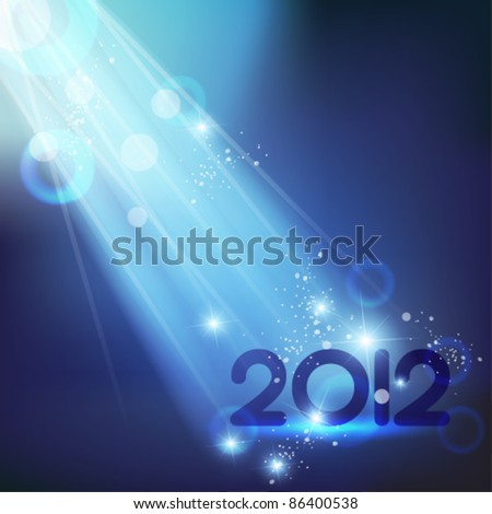 blue shiny 2012 vector design - stock vector