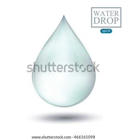 Blue shiny water drop isolated on white background. Vector illustration.