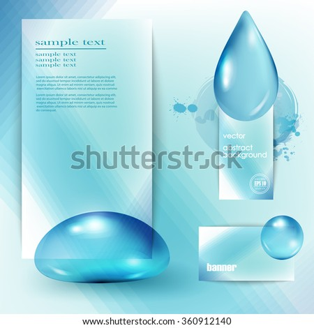 Blue shiny water drops set of banners. Vector illustration. Fresh rain pattern for design card cover. Pure, organic, mineral-rich spring water. - stock vector