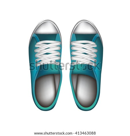 Blue shoes on white background - stock vector