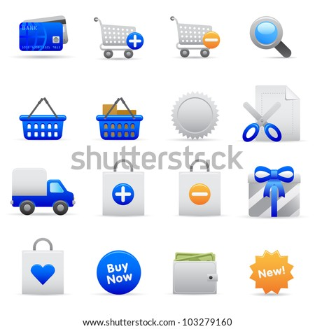 Blue Shopping Icons Professional vector set for your website, application, or presentation. The graphics can easily be edited colored individually and be scaled to any size