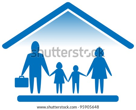 blue sign with large family silhouette - stock vector