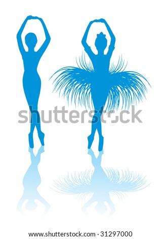 blue silhouette ballerinas - stock vector